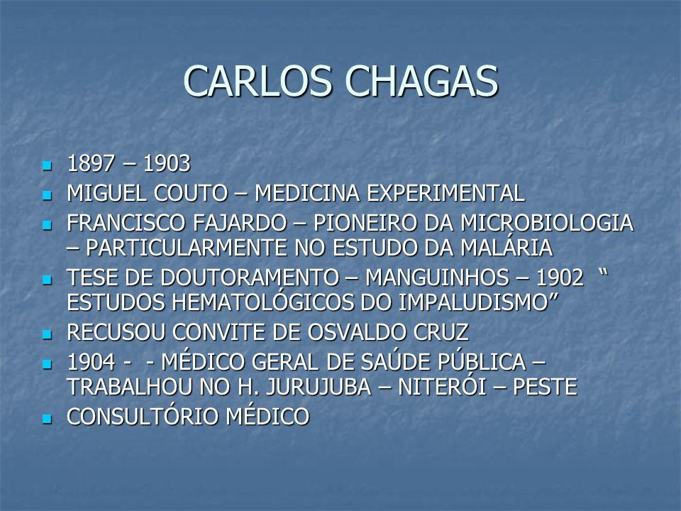 CARLOS CHAGAS 1897 – 1903 MIGUEL COUTO – MEDICINA EXPERIMENTAL