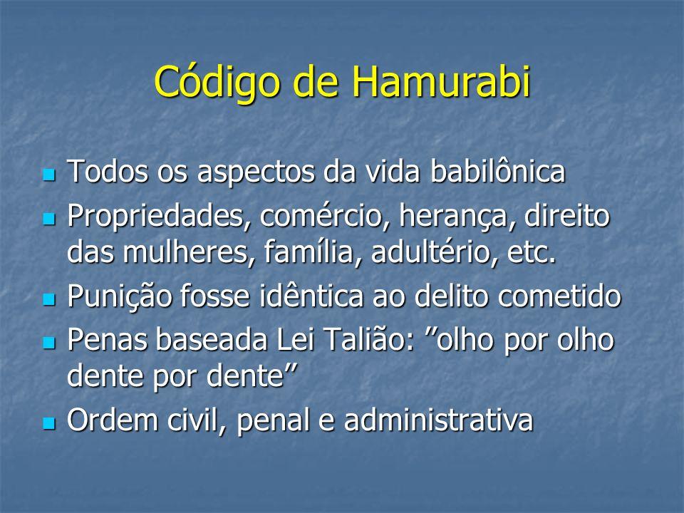 Código de Hamurabi Todos os aspectos da vida babilônica
