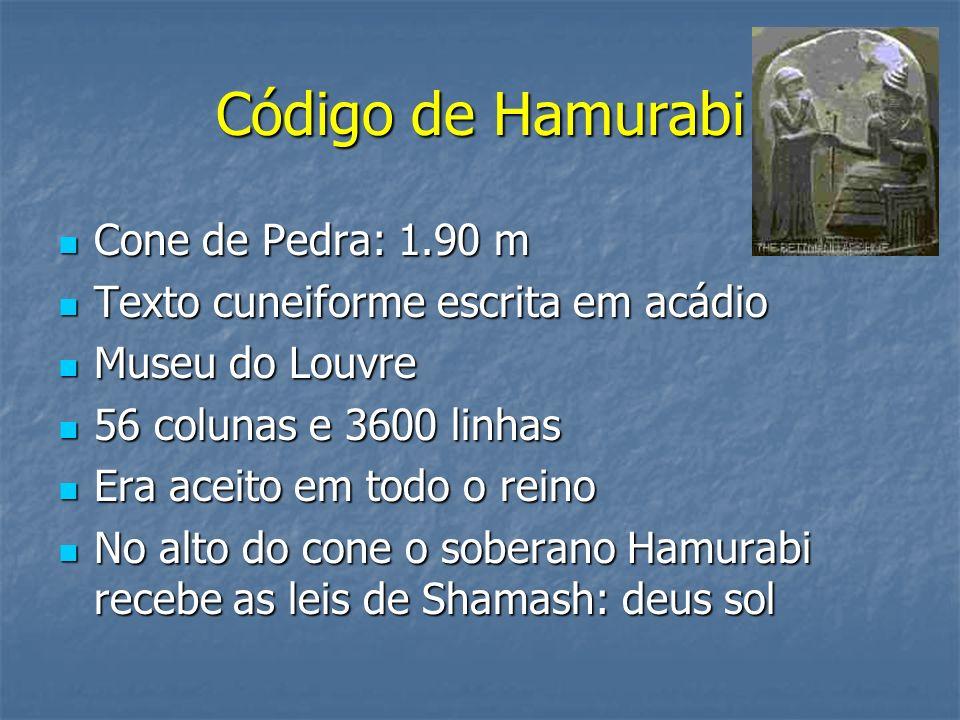 Código de Hamurabi Cone de Pedra: 1.90 m