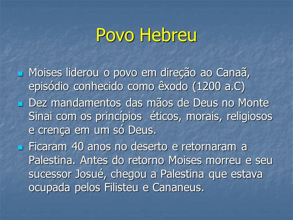 Povo Hebreu Moises liderou o povo em direção ao Canaã, episódio conhecido como êxodo (1200 a.C)