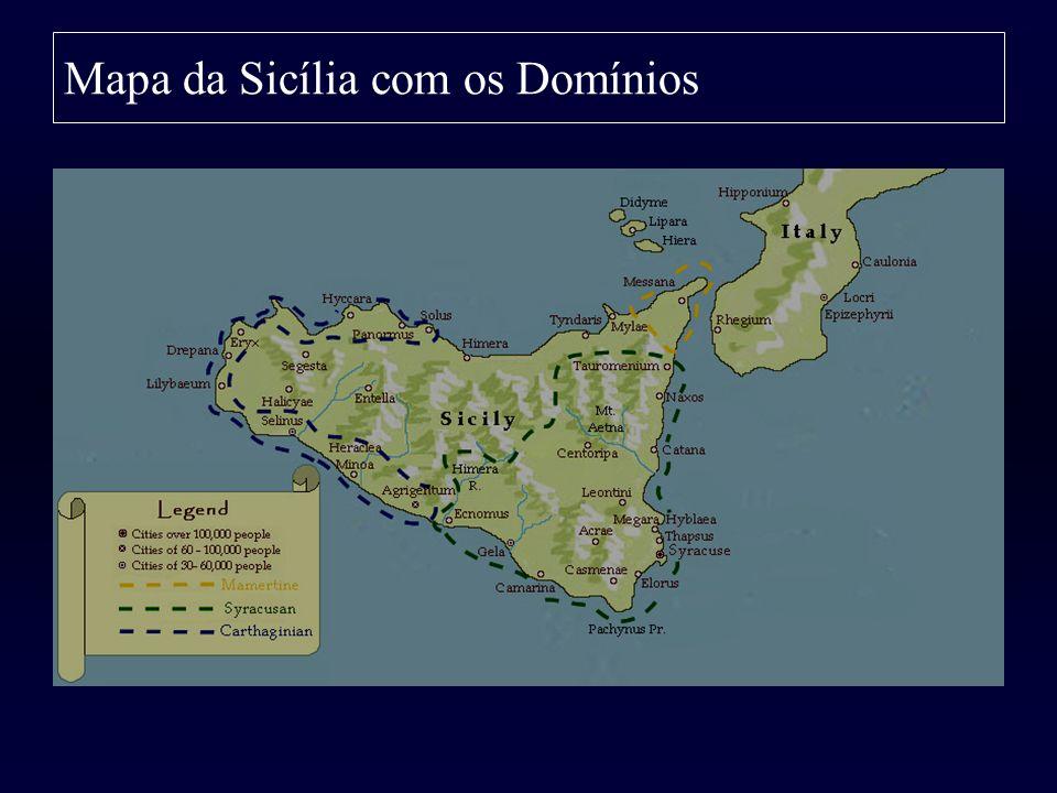 Mapa da Sicília com os Domínios