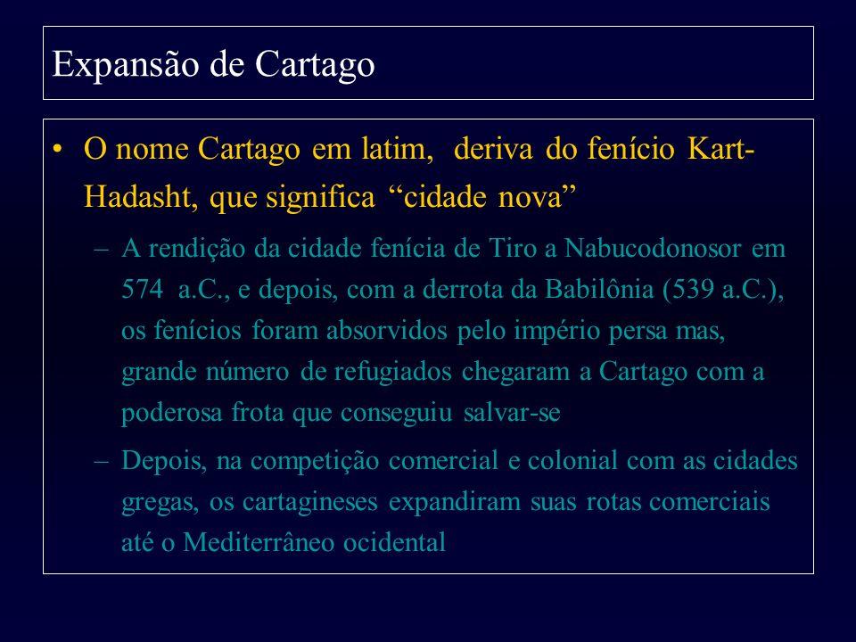 Expansão de Cartago O nome Cartago em latim, deriva do fenício Kart-Hadasht, que significa cidade nova