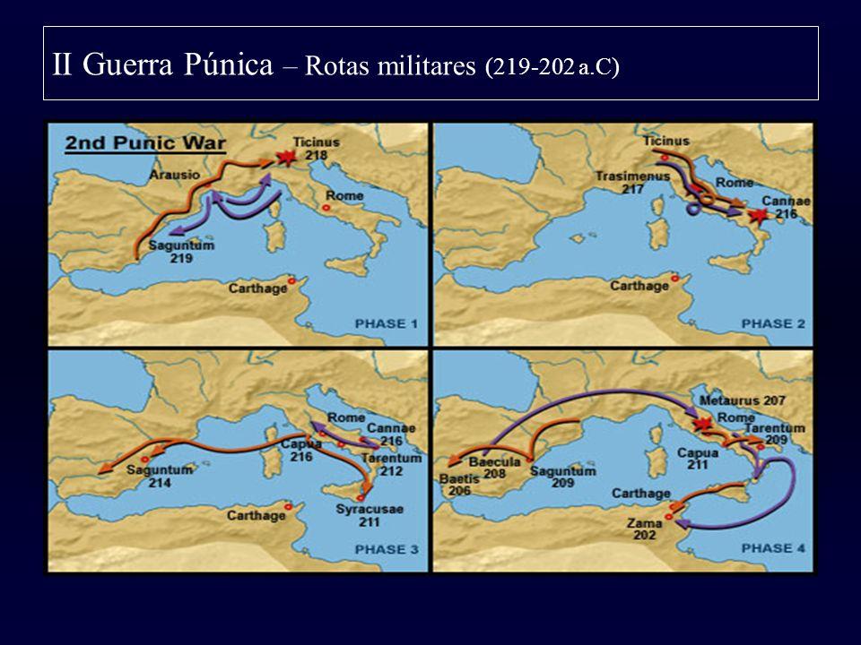 II Guerra Púnica – Rotas militares (219-202 a.C)