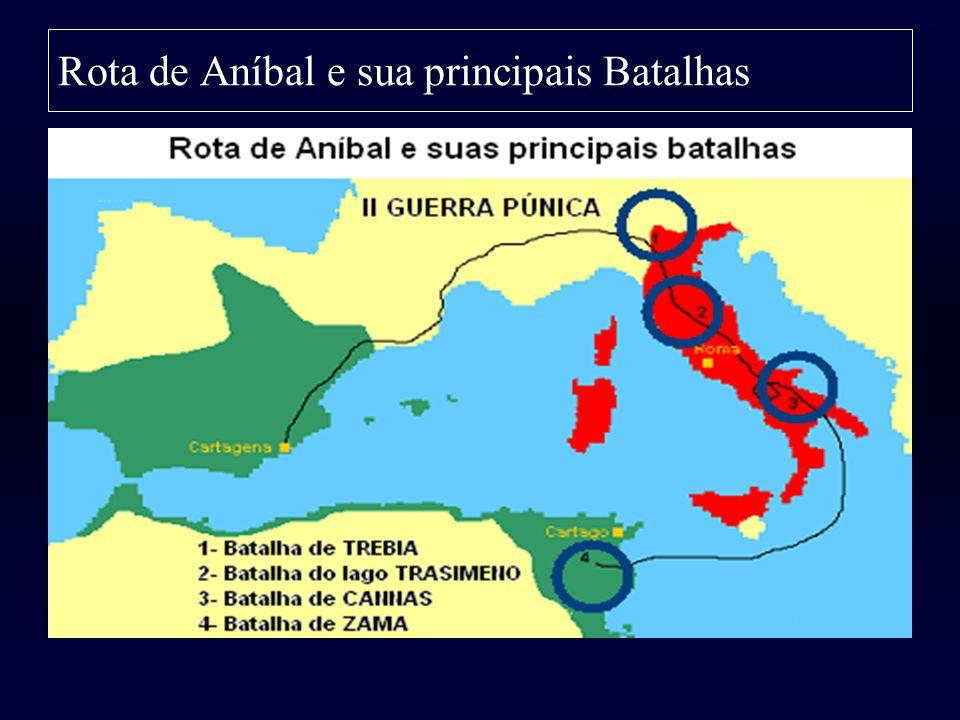 Rota de Aníbal e sua principais Batalhas