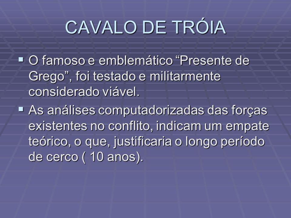 CAVALO DE TRÓIA O famoso e emblemático Presente de Grego , foi testado e militarmente considerado viável.