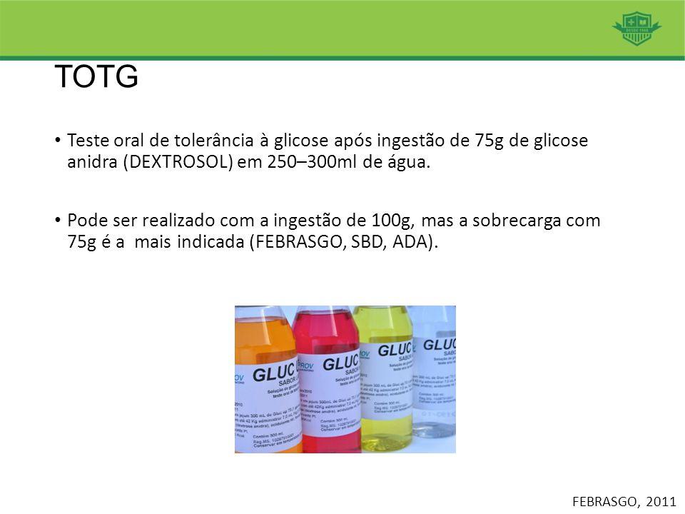 TOTG Teste oral de tolerância à glicose após ingestão de 75g de glicose anidra (DEXTROSOL) em 250–300ml de água.