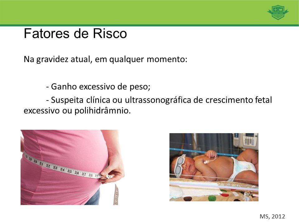 Fatores de Risco Na gravidez atual, em qualquer momento: