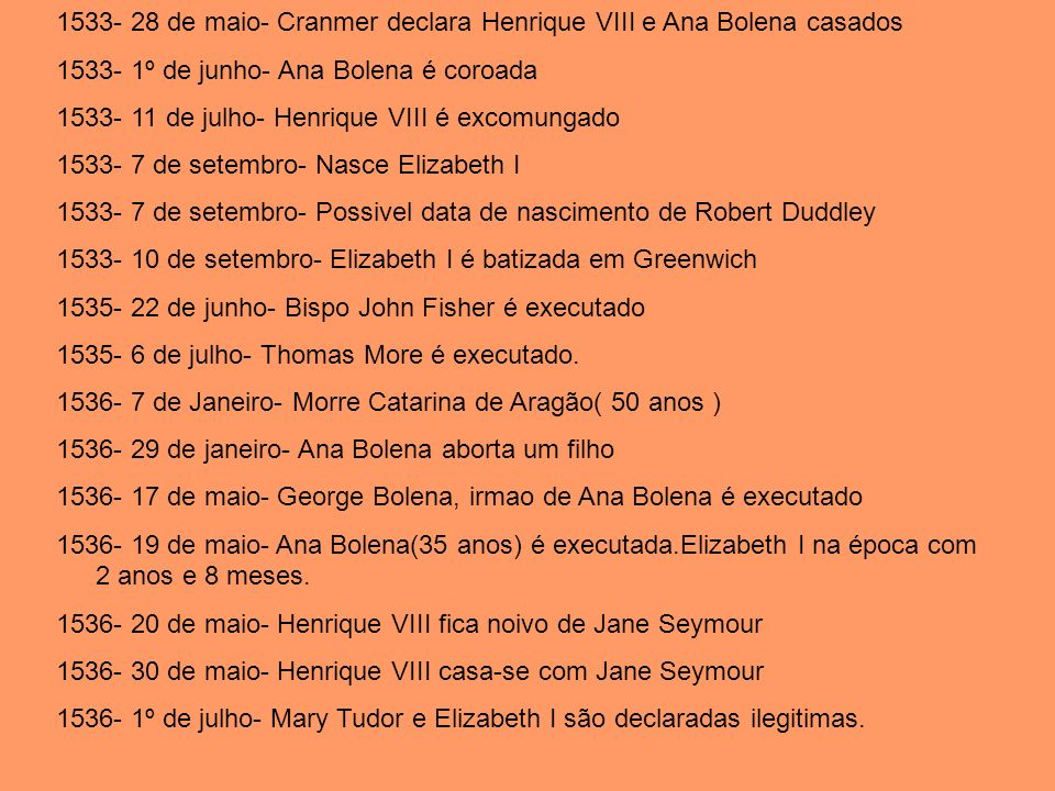 1533- 28 de maio- Cranmer declara Henrique VIII e Ana Bolena casados