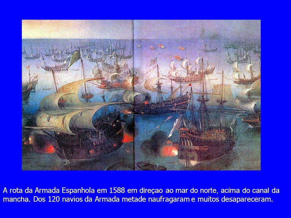 A rota da Armada Espanhola em 1588 em direçao ao mar do norte, acima do canal da mancha.