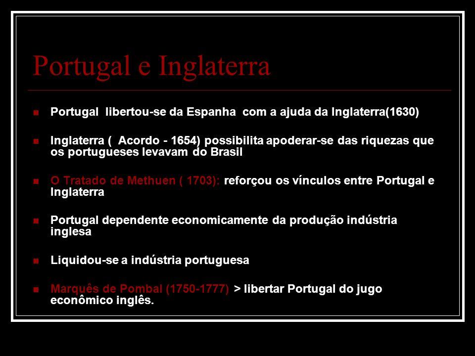 Portugal e Inglaterra Portugal libertou-se da Espanha com a ajuda da Inglaterra(1630)