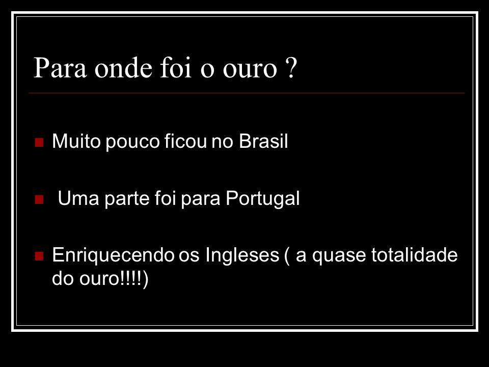 Para onde foi o ouro Muito pouco ficou no Brasil