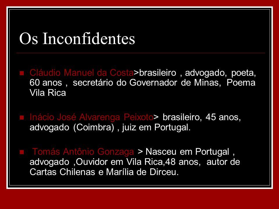 Os Inconfidentes Cláudio Manuel da Costa>brasileiro , advogado, poeta, 60 anos , secretário do Governador de Minas, Poema Vila Rica.