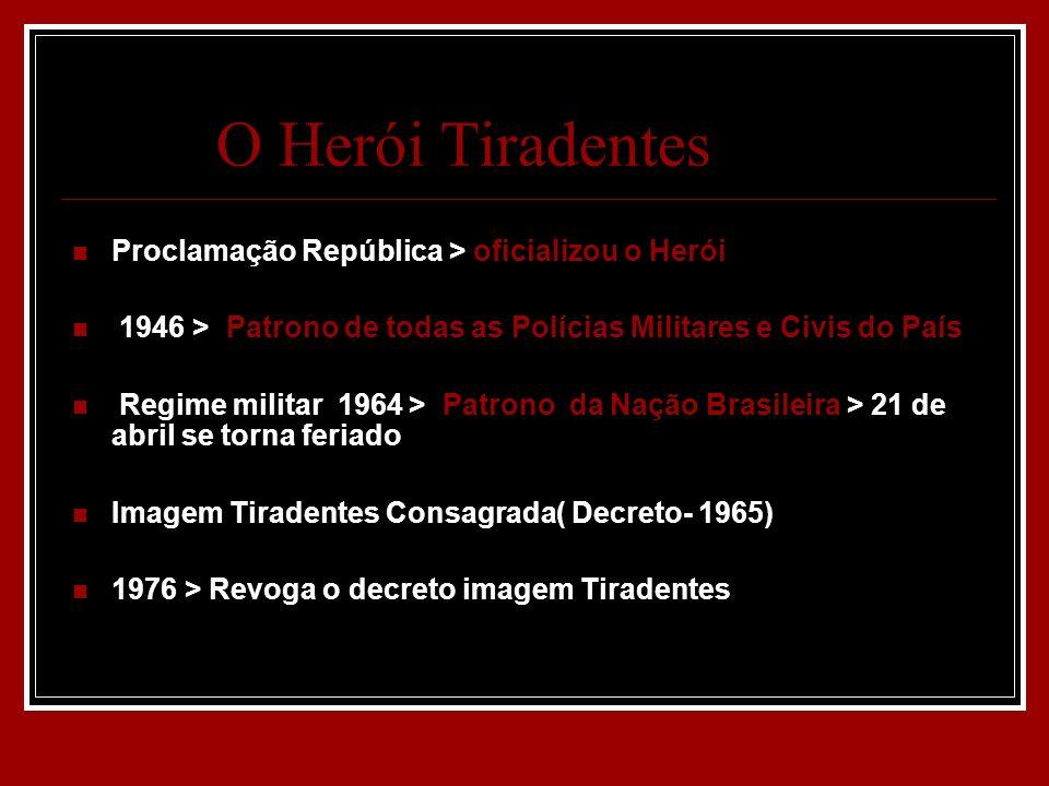 O Herói Tiradentes Proclamação República > oficializou o Herói