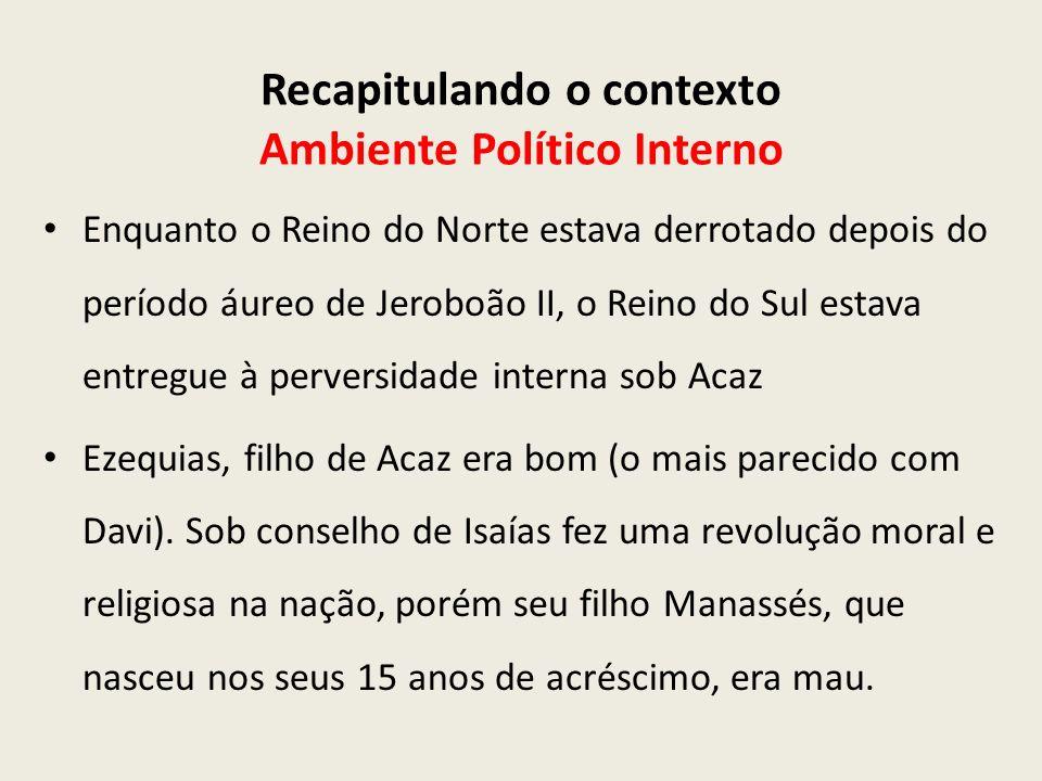 Recapitulando o contexto Ambiente Político Interno