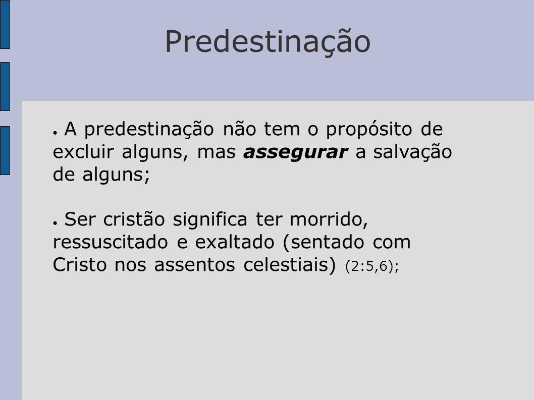 Predestinação A predestinação não tem o propósito de excluir alguns, mas assegurar a salvação de alguns;