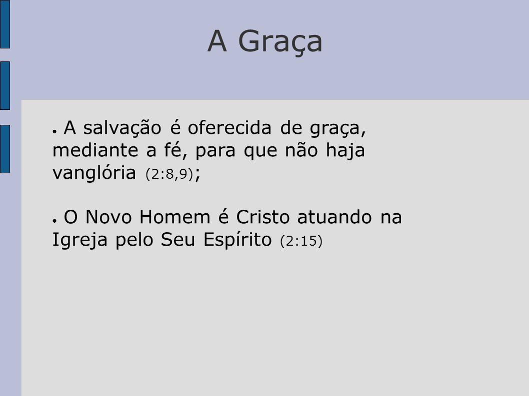 A Graça A salvação é oferecida de graça, mediante a fé, para que não haja vanglória (2:8,9);