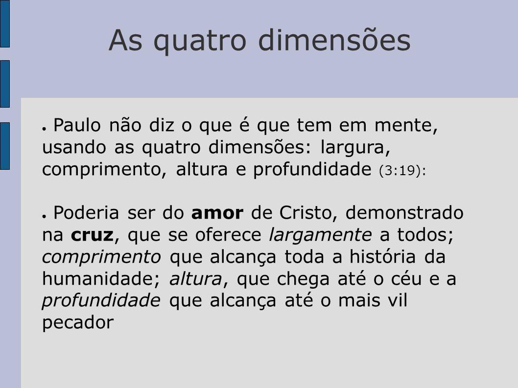 As quatro dimensõesPaulo não diz o que é que tem em mente, usando as quatro dimensões: largura, comprimento, altura e profundidade (3:19):
