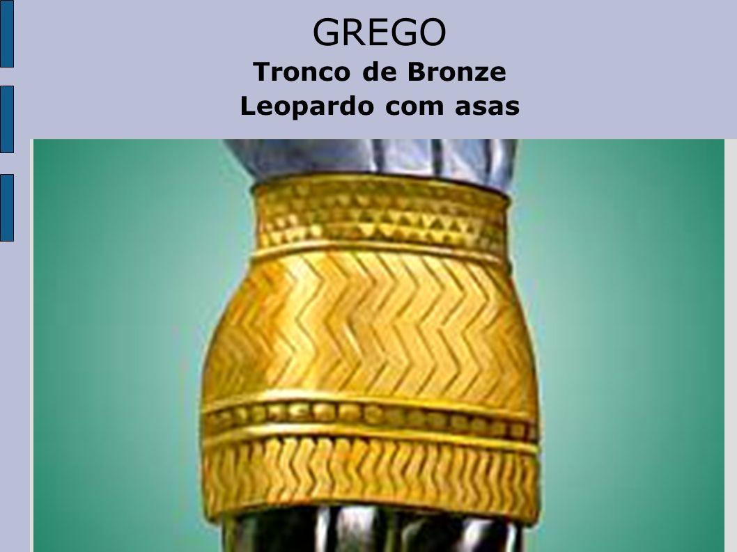 GREGO Tronco de Bronze Leopardo com asas
