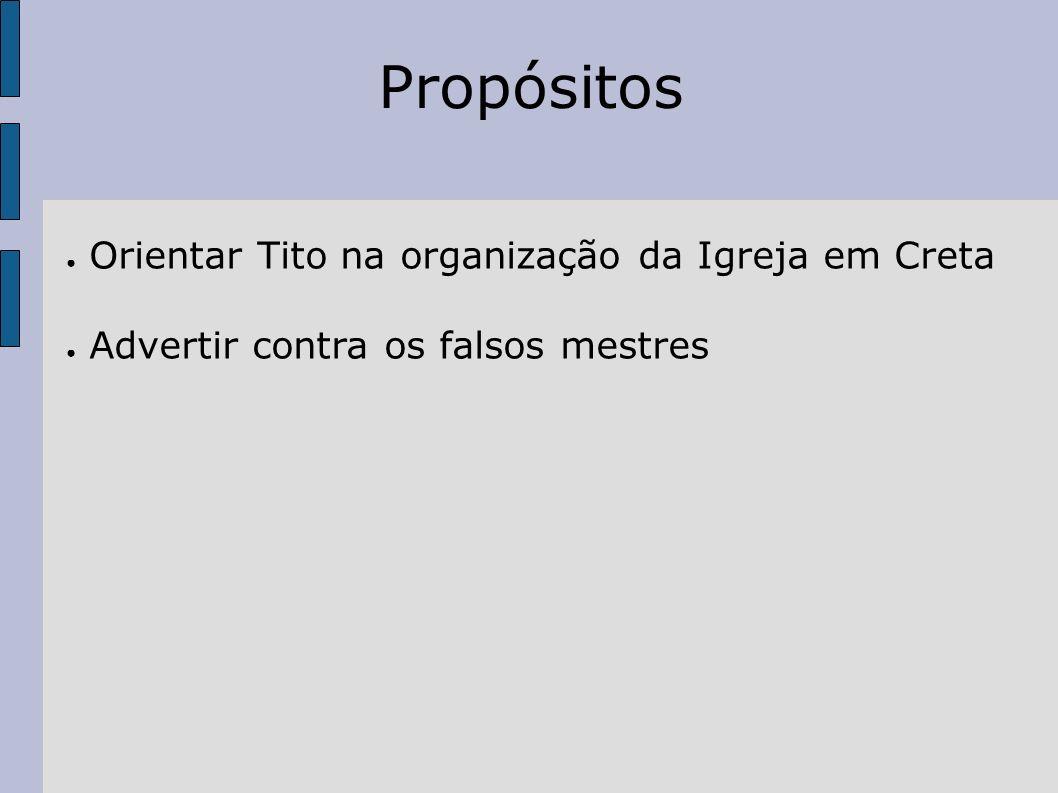 Propósitos Orientar Tito na organização da Igreja em Creta