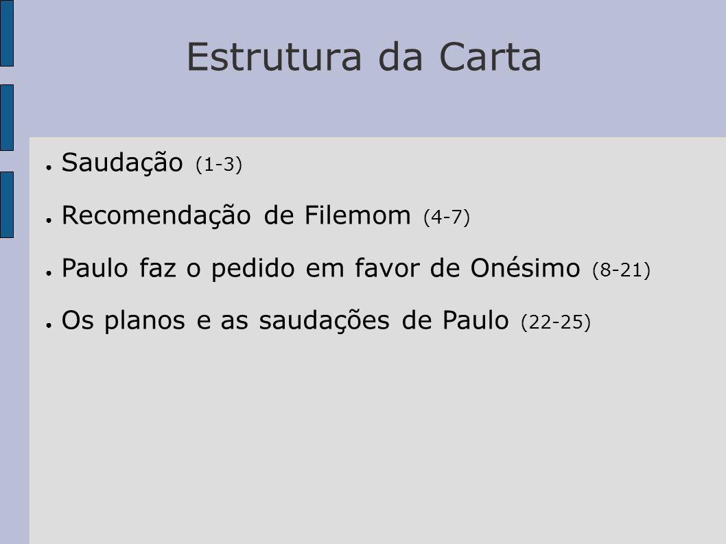 Estrutura da Carta Saudação (1-3) Recomendação de Filemom (4-7)