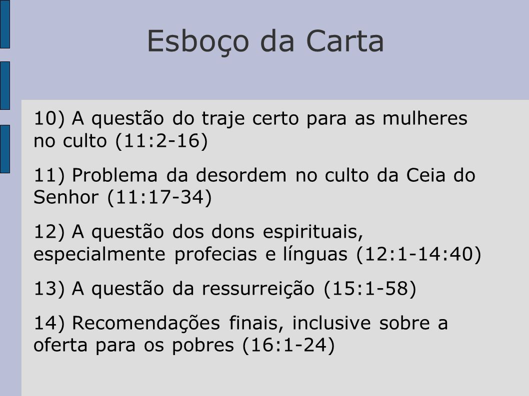 Esboço da Carta10) A questão do traje certo para as mulheres no culto (11:2-16) 11) Problema da desordem no culto da Ceia do Senhor (11:17-34)