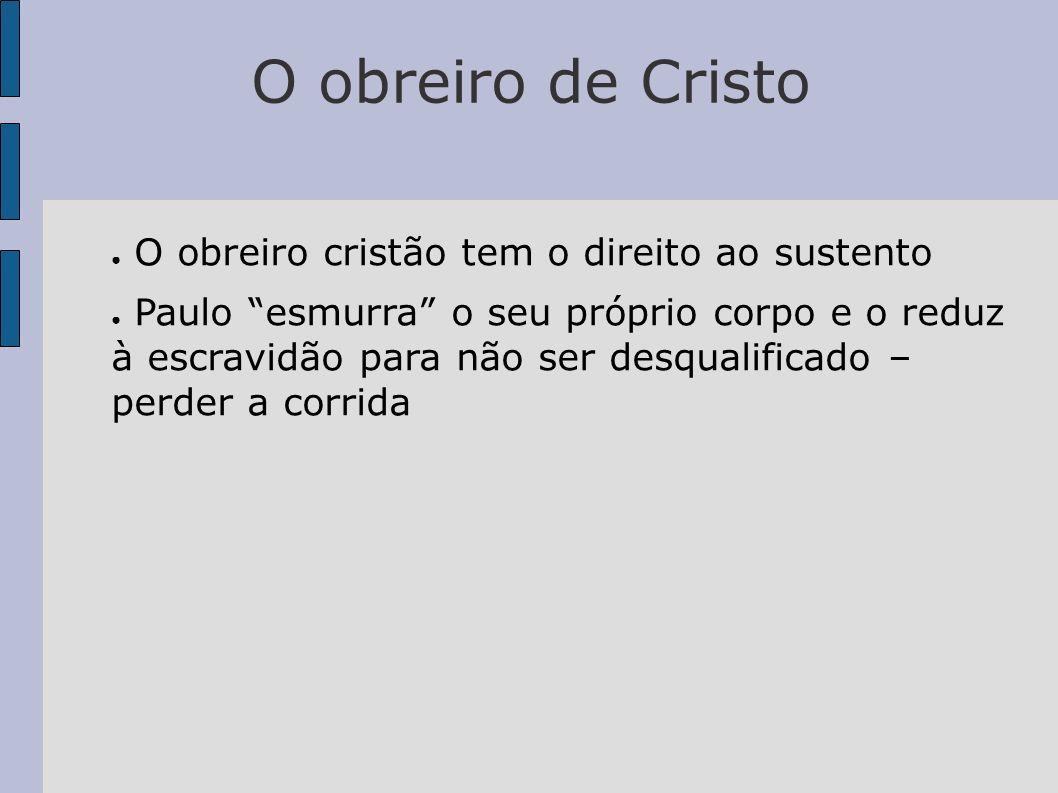 O obreiro de Cristo O obreiro cristão tem o direito ao sustento