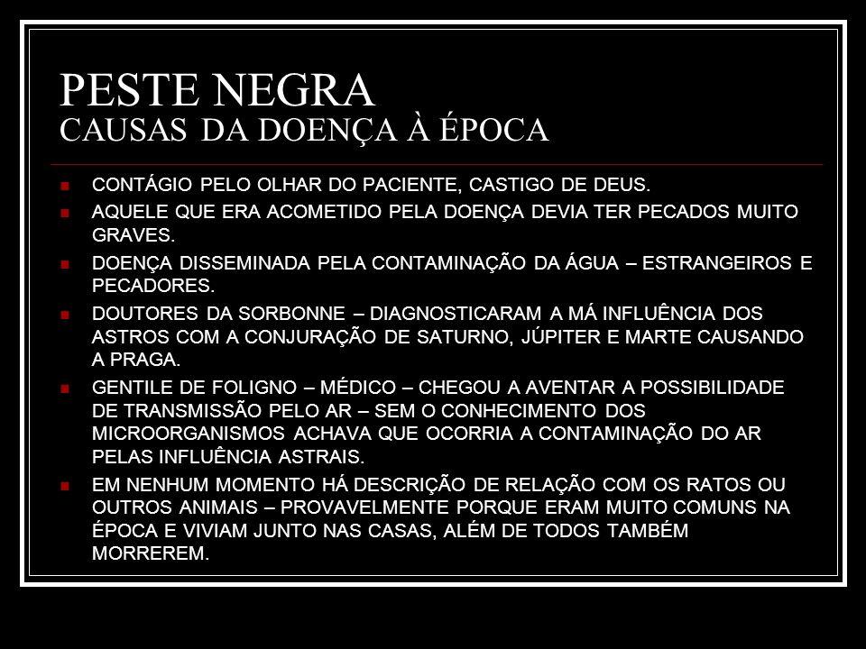 PESTE NEGRA CAUSAS DA DOENÇA À ÉPOCA