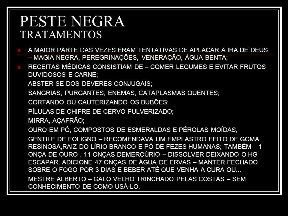 PESTE NEGRA TRATAMENTOS
