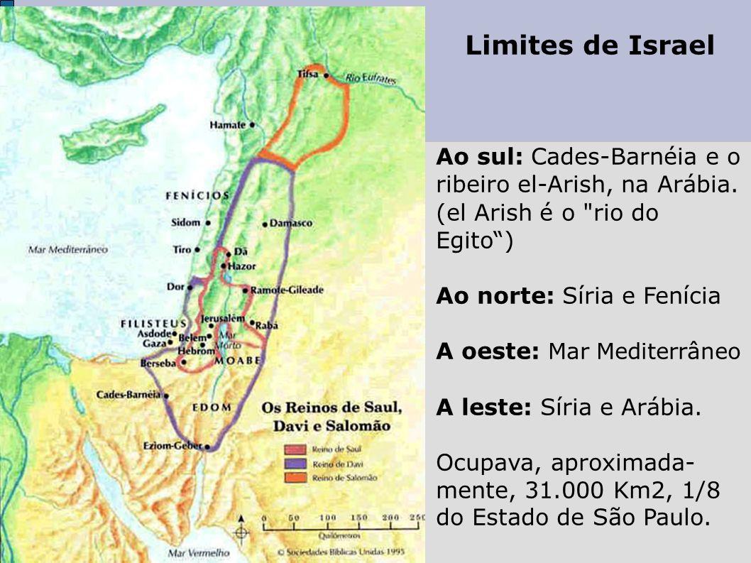 Limites de Israel Ao sul: Cades-Barnéia e o ribeiro el-Arish, na Arábia. (el Arish é o rio do Egito )