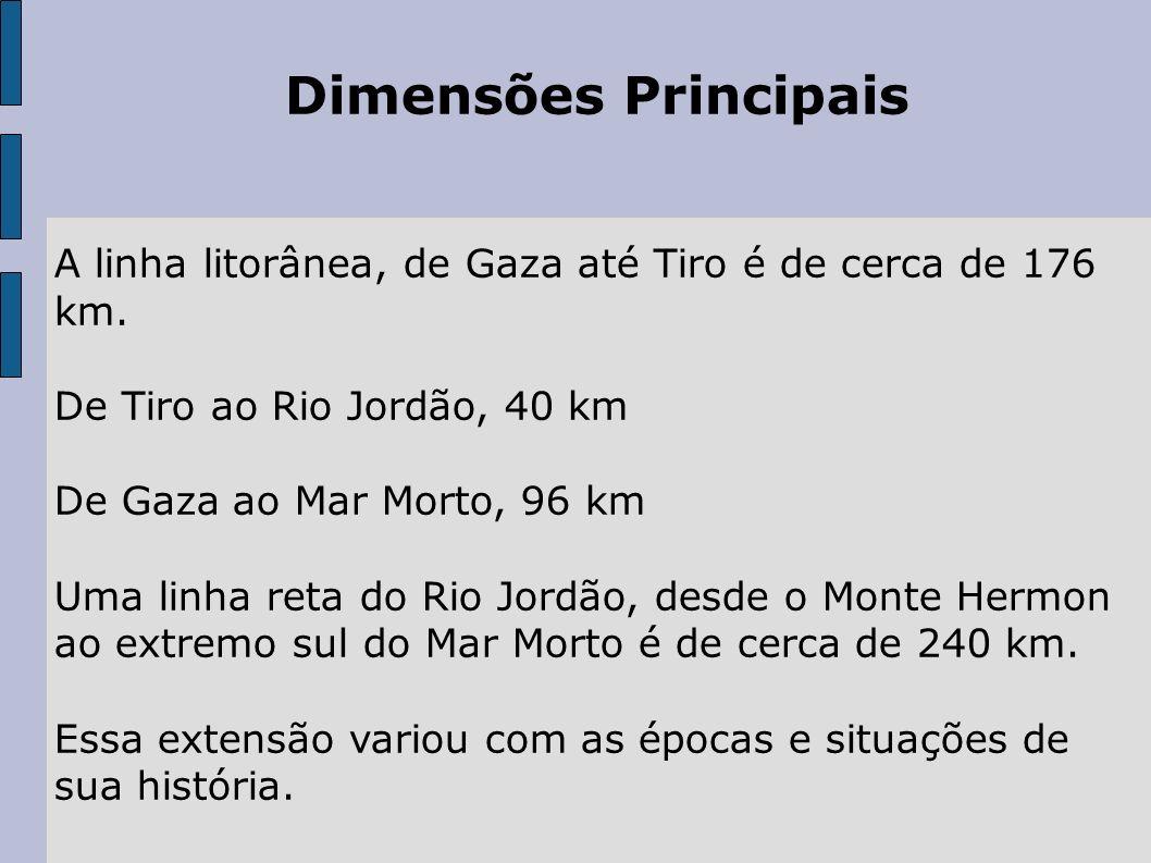 Dimensões Principais A linha litorânea, de Gaza até Tiro é de cerca de 176 km. De Tiro ao Rio Jordão, 40 km.