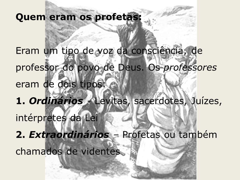 Quem eram os profetas: Eram um tipo de voz da consciência, de professor do povo de Deus. Os professores eram de dois tipos: