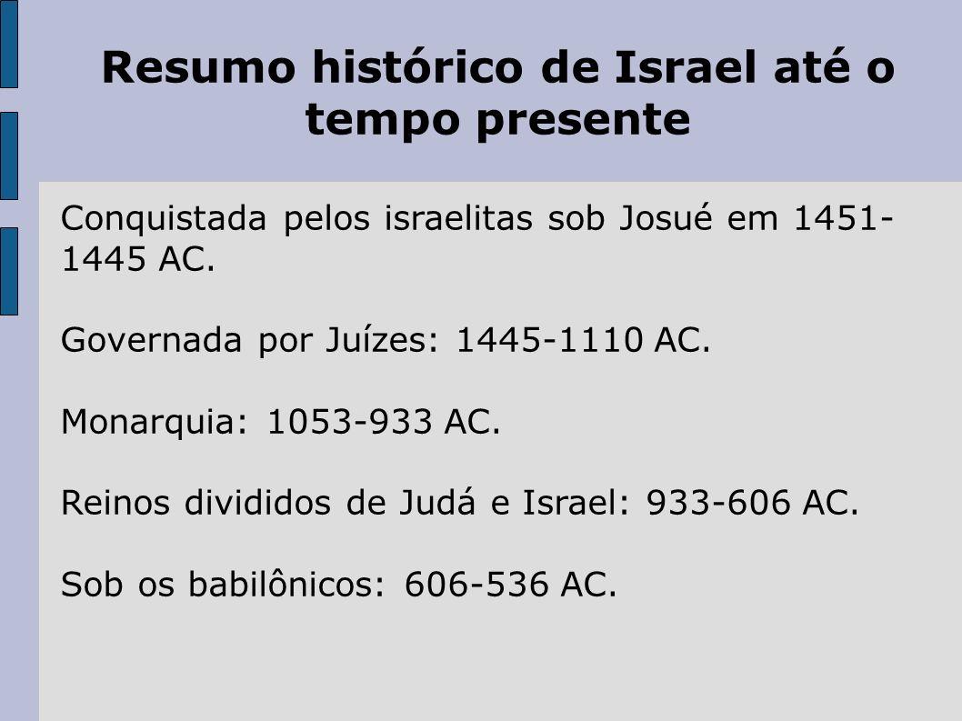 Resumo histórico de Israel até o tempo presente