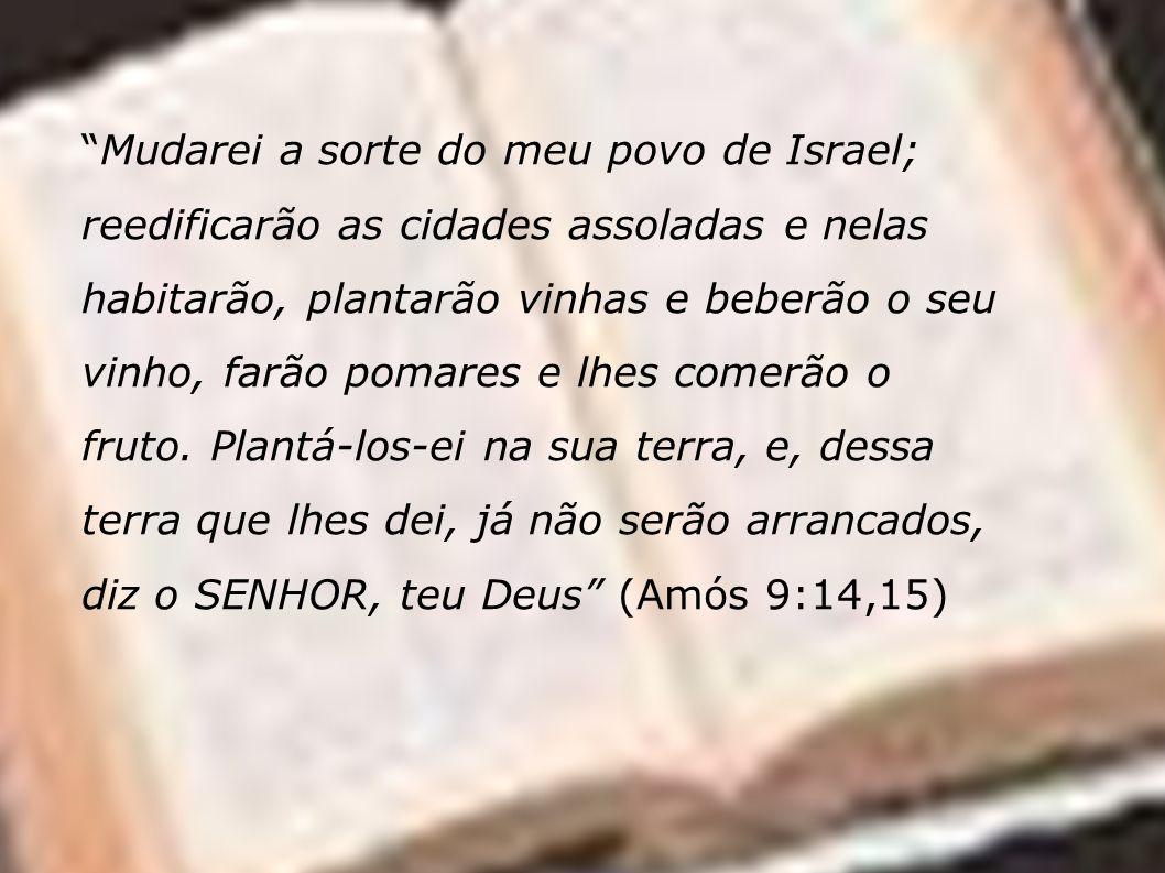 Mudarei a sorte do meu povo de Israel; reedificarão as cidades assoladas e nelas habitarão, plantarão vinhas e beberão o seu vinho, farão pomares e lhes comerão o fruto.