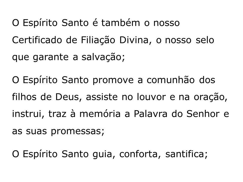 O Espírito Santo é também o nosso Certificado de Filiação Divina, o nosso selo que garante a salvação;