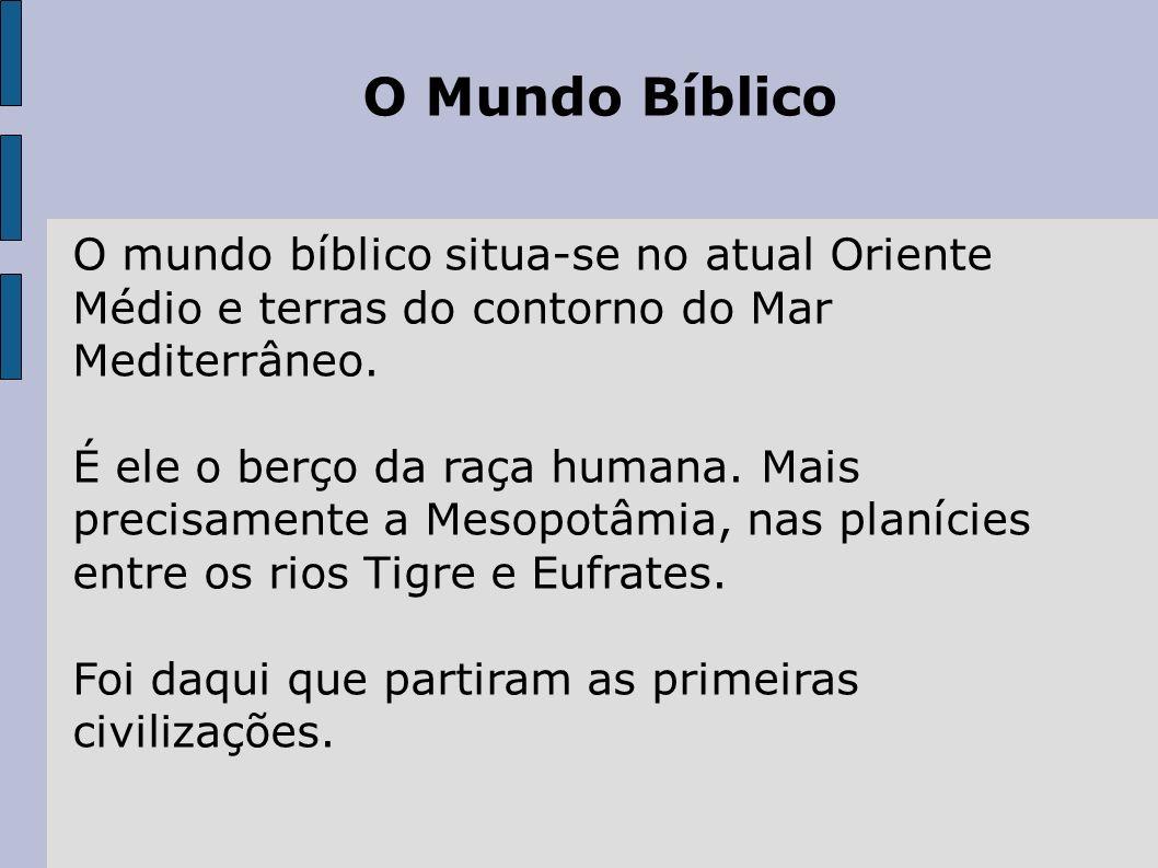 O Mundo Bíblico O mundo bíblico situa-se no atual Oriente Médio e terras do contorno do Mar Mediterrâneo.