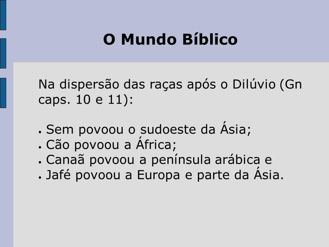 O Mundo Bíblico Na dispersão das raças após o Dilúvio (Gn caps. 10 e 11): Sem povoou o sudoeste da Ásia;