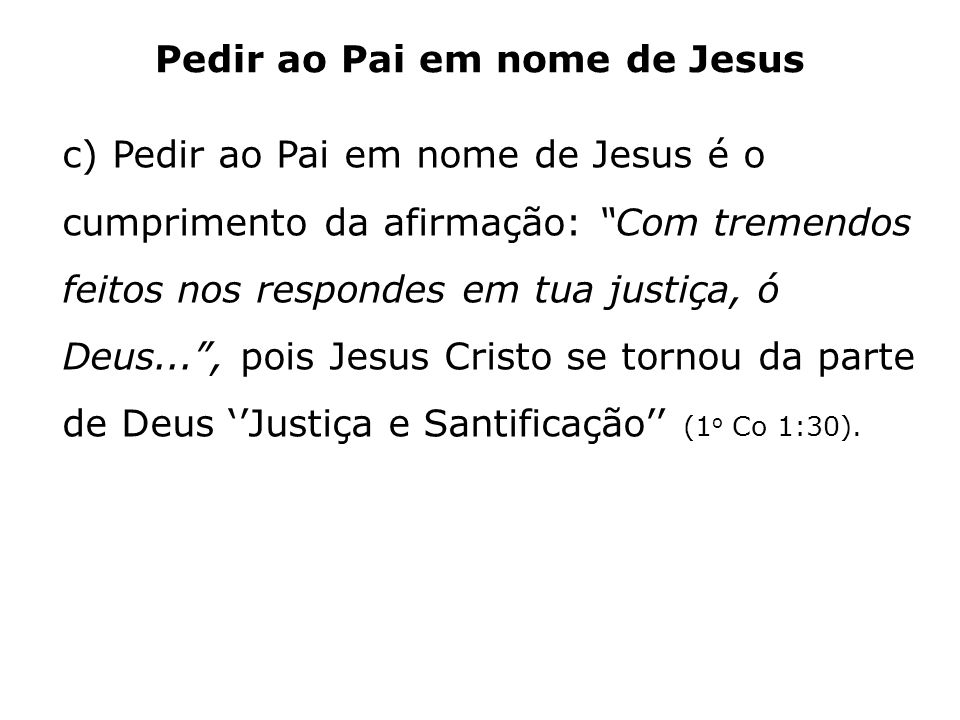 Pedir ao Pai em nome de Jesus