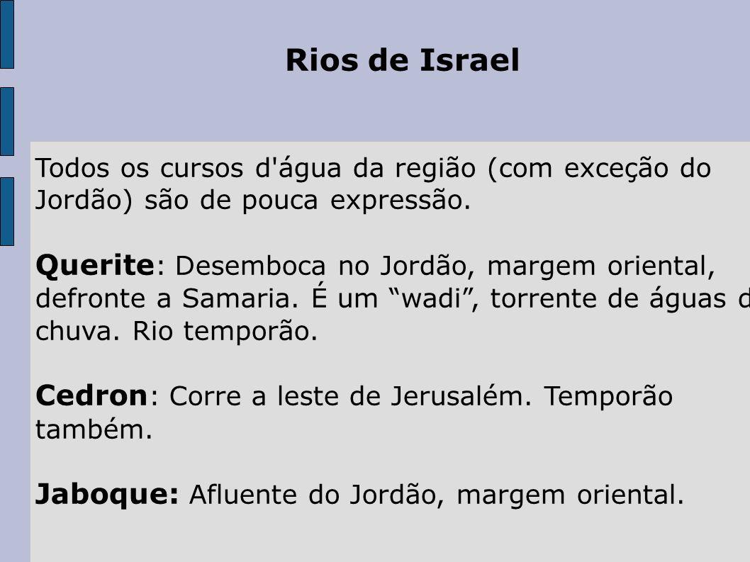 Rios de Israel Todos os cursos d água da região (com exceção do Jordão) são de pouca expressão.