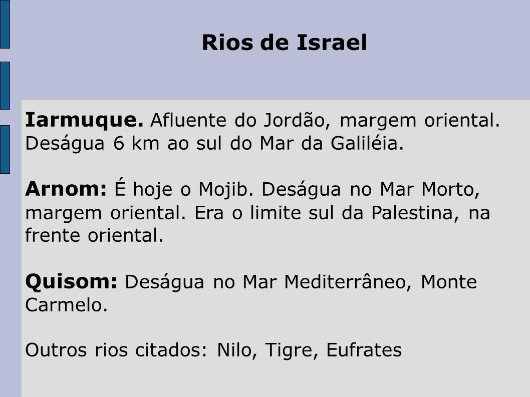 Rios de Israel Iarmuque. Afluente do Jordão, margem oriental. Deságua 6 km ao sul do Mar da Galiléia.