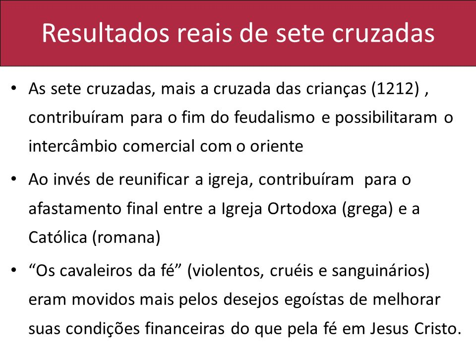 Resultados reais de sete cruzadas