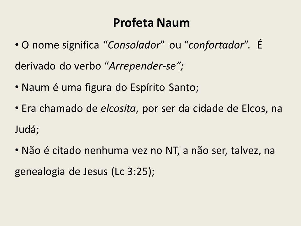 Profeta NaumO nome significa Consolador ou confortador . É derivado do verbo Arrepender-se ; Naum é uma figura do Espírito Santo;