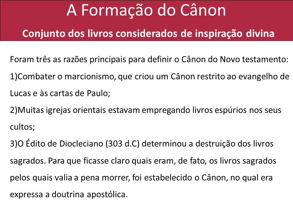 A Formação do Cânon Conjunto dos livros considerados de inspiração divina