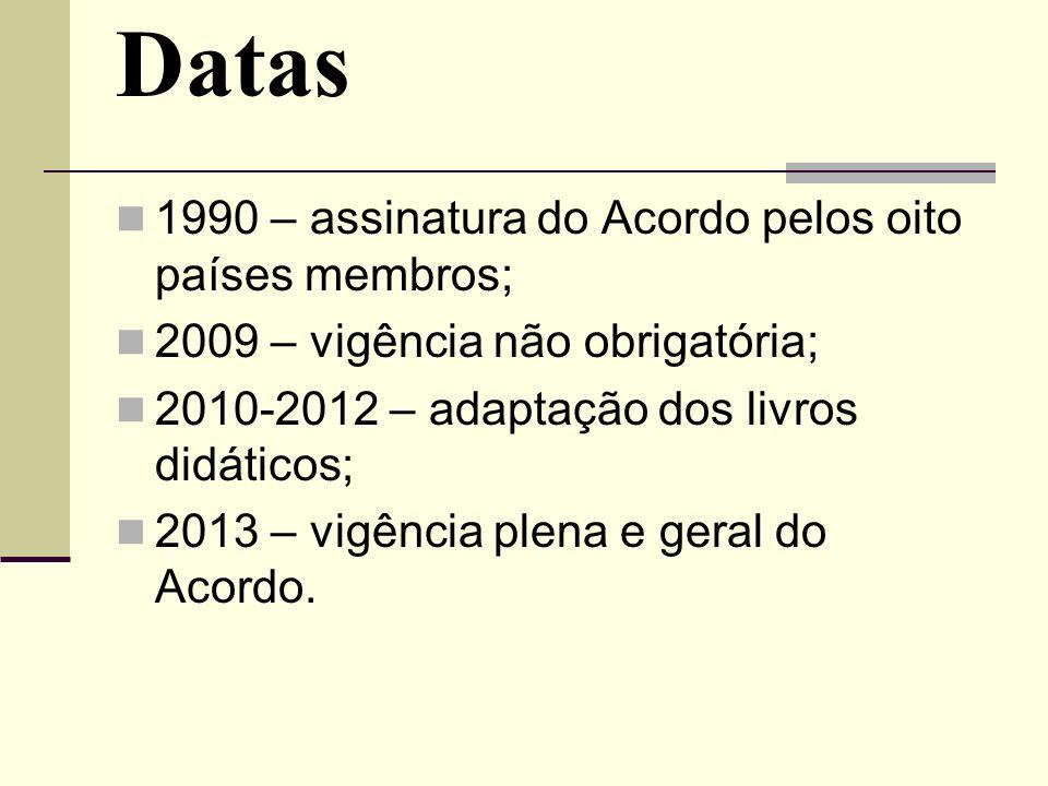 Datas 1990 – assinatura do Acordo pelos oito países membros;