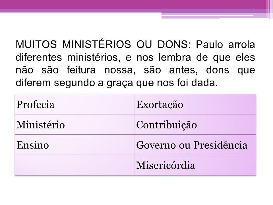 MUITOS MINISTÉRIOS OU DONS: Paulo arrola diferentes ministérios, e nos lembra de que eles não são feitura nossa, são antes, dons que diferem segundo a graça que nos foi dada.