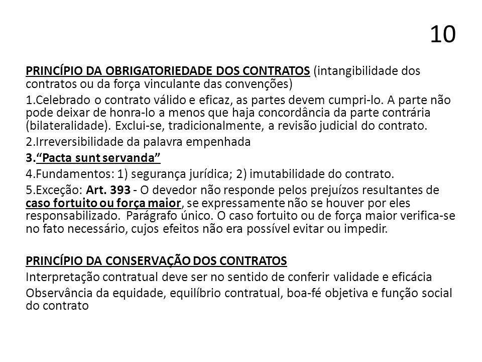10 PRINCÍPIO DA OBRIGATORIEDADE DOS CONTRATOS (intangibilidade dos contratos ou da força vinculante das convenções)
