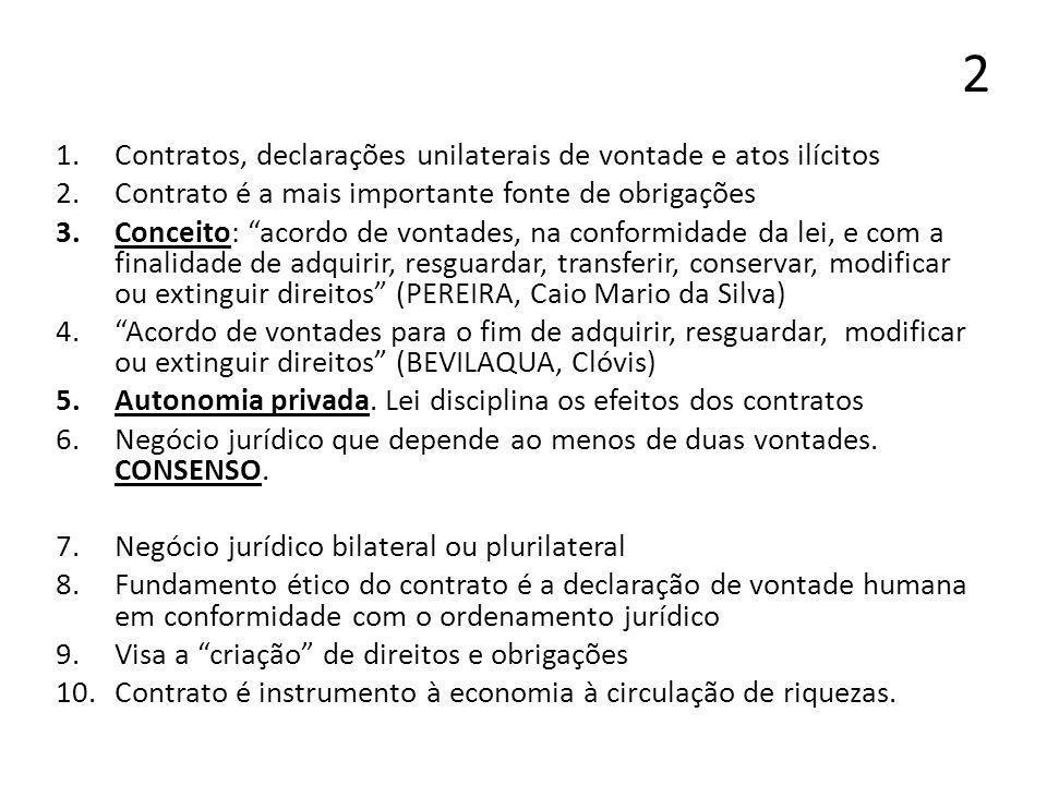 2 Contratos, declarações unilaterais de vontade e atos ilícitos