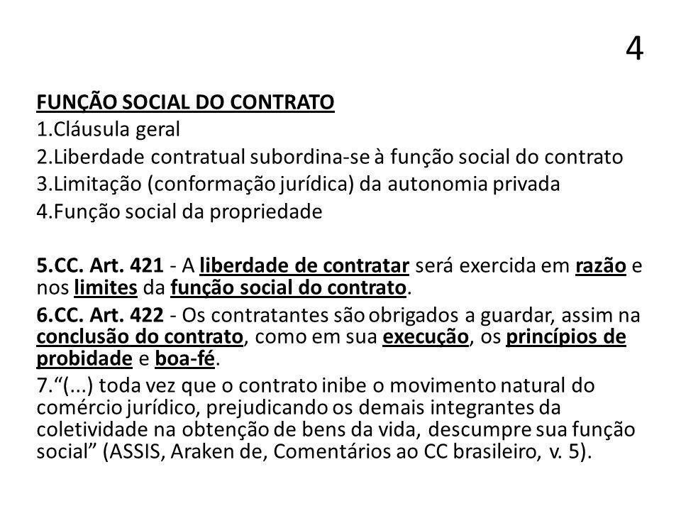 4 FUNÇÃO SOCIAL DO CONTRATO Cláusula geral