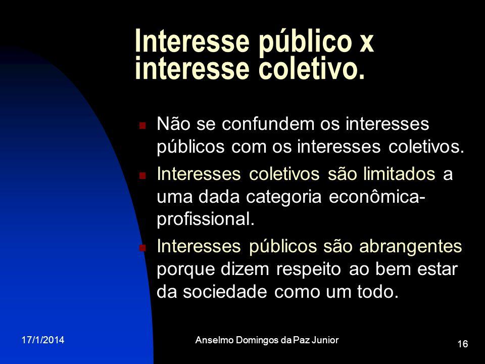 Interesse público x interesse coletivo.