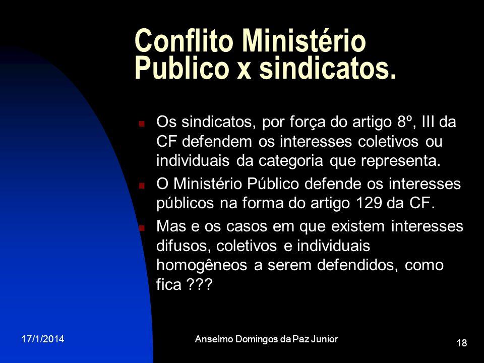 Conflito Ministério Publico x sindicatos.