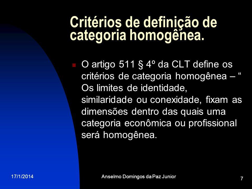Critérios de definição de categoria homogênea.